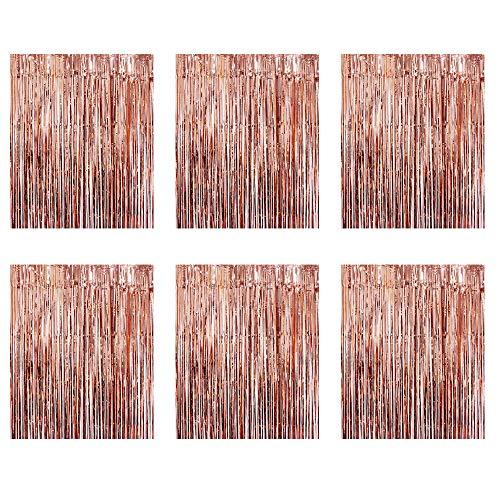Gobesty Lametta Vorhänge, 6 Stück Metallic Tinsel Vorhänge Rosegold Glitzer Vorhang Deko für Party Hochzeit Geburtstags Weihnachten Fotokabine Türvorhang Deko(3.28*6.56 ft)