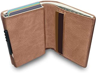 Wallet with Money Clip RFID Blocking Wallet|Minimalist Genuine Leather Mens Card Wallet | Credit Card Holder| Contactless Credit Card Protector |Ultra Thin Automatic Pop-up Card Case(Beige)