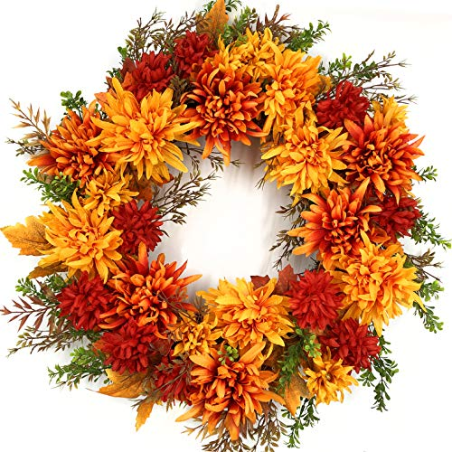 Silk Fall Door Wreath 22 Inch, with Mums.  Comes with Gift Box