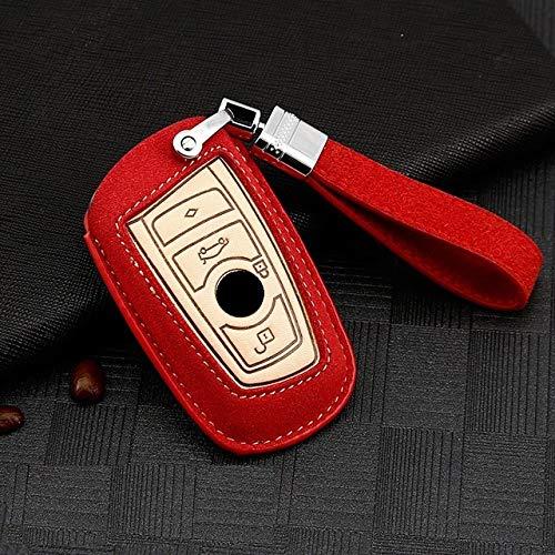 PLUIEX Protector de Llave de Coche Funda de Cuero de Gamuza para Llave de Coche para BMW X1 X3 X4 X5 X6 E90 E60 E36 E93 F15 F16 F48 G30 F11 F10 G30 M5 M6 X1 X5 X6, B Rojo