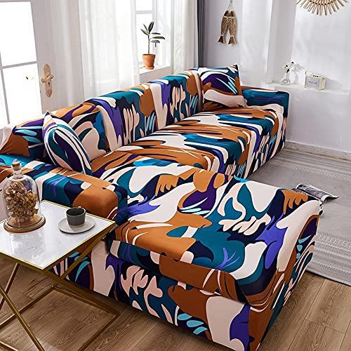 WXQY Funda de sofá elástica para Sala de Estar Funda de sofá Chaise Longue de Esquina en Forma de L Funda de sofá Antideslizante Envuelta herméticamente A15 1 Plaza