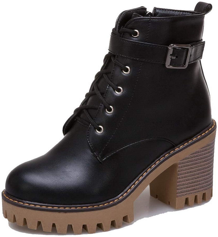WeenFashion Women's Pu Low-Top Solid Zipper High-Heels Boots, AMGXX117220