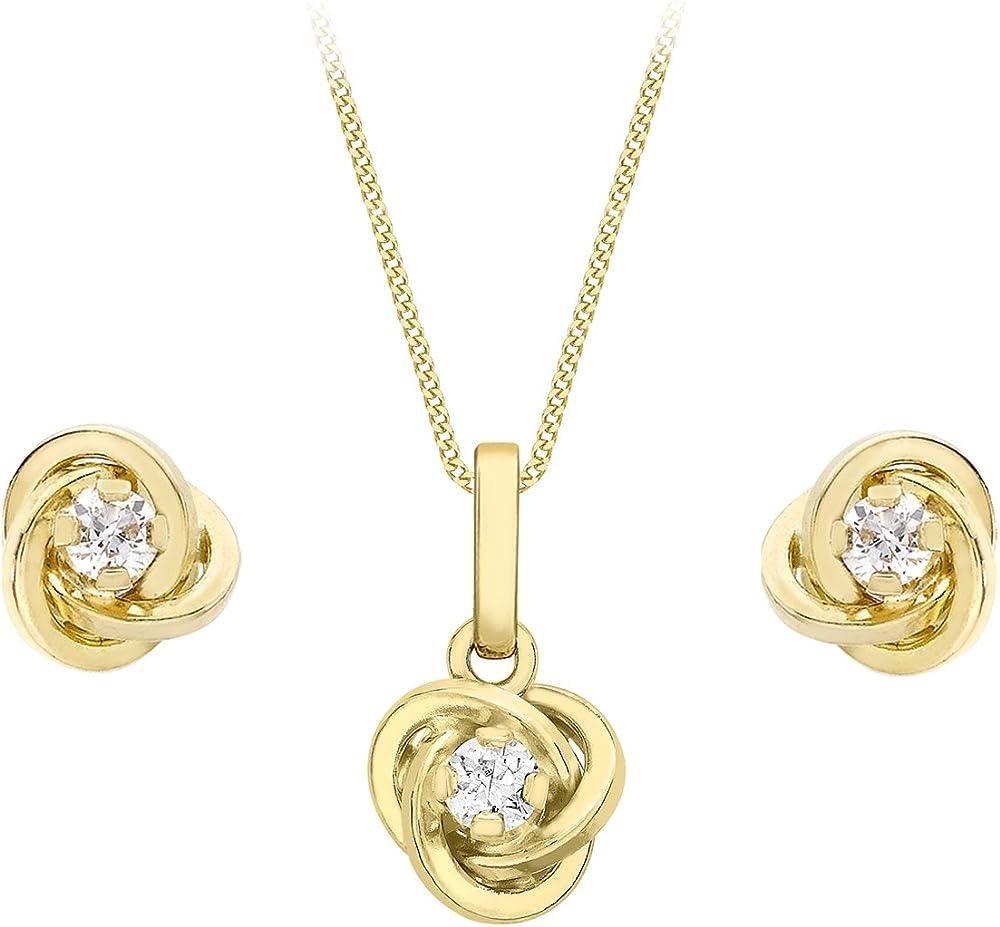 Carissima gold set collana + orecchini per donna in oro giallo 9k (375)(1,64 gr)con zirconi cubici 0,03 ct 1.45.1544