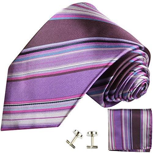 Cravate violet rayée ensemble de cravate 3 Pièces ( 100% Soie Cravate + Mouchoir + Boutons de manchette )