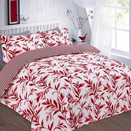 Linen Empire Ltd New Elegant Printed Ellie Leafy Design Striped Reversible Duvet Cover & Bedding Set with Pillow Cases (Ellie Red-Double)