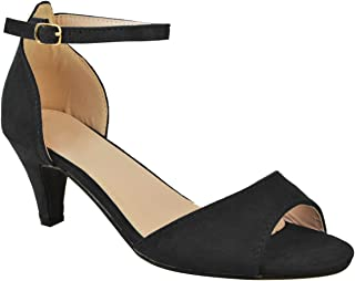 Fashion Thirsty Womens Ladies Low Kitten Heel Wedge Court Shoes Black Work Sandals Strappy Size
