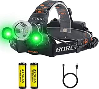 BESTSUN LED Hunting Headlamp with Green Light, USB Rechargeable Green Headlamps Flashlight for Coyote Hog Hunting, Fishing, Caving, Hiking(Battery Included)