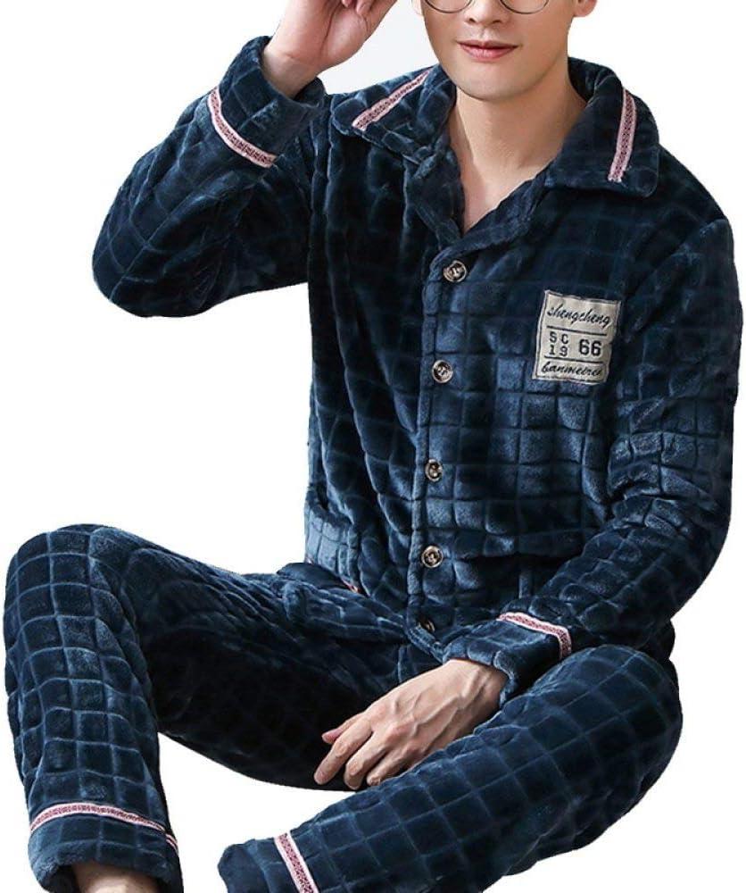 CIDCIJN Pijama Hombre Mangas Largas Set,Hombres Pijamas Cálidos Pijamas Hombre Franela Invierno Grueso Pijamas Set Grueso De Manga Larga Pijama Casual Pijamas Coral Fleece Trajes 3XL