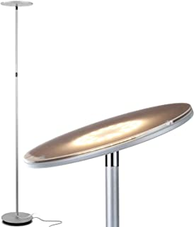 Brightech Sky LED Torchiere Super Bright Floor Lamp - Tall Standing Modern Pole Light for Living Rooms & Offices - Dimmable Uplight for Reading Books in Your Bedroom etc - Platinum Silver