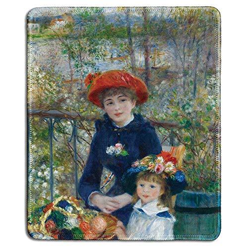 Art Mousepad - Alfombrilla de Goma Natural con Pintura de Bellas Artes de Dos Hermanas (en la terraza) de Pierre-Auguste Renoir - Bordes cosidos - Pulgadas