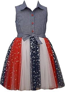 Bonnie Jean Girl's 4th of July Dress - Chambray Americana Tutu Dress