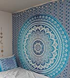 Jaipur Handloom Turquoise Blue Tapestry Ombre Tapestry Hippie Mandala Bedding Tapestry Wall Hanging Psychedelic Tapestry Dorm Decor Bohemian Tapestry, Boho Tapestries, Mandala Throw Bedspread