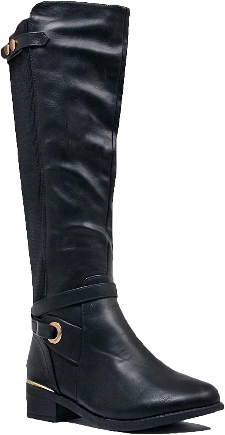 Guilty Heart   Womens Comfortable Low Heel Western Riding Buckle Knee High Boot (8.5 B(M) US, Blackv2 Pu)