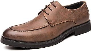 CAIFENG Oxfords Block Tacón para Hombre Burnish Delantal Toe Stitching 3-Ojo Lace Up Full-Grain Synthetic Cuero Sole Suela...