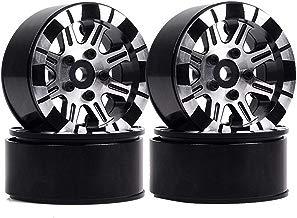 Boliduo 1.9 inch Beadlock Wheel Hub Metal Alloy Wheel Rims for 1/10 Axial SCX10 Traxxas TRX-4 D90 CC01 RC Rock Crawler Car, 4PCS