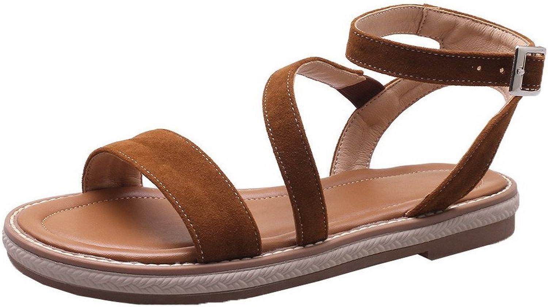 WeiPoot Women's Buckle Frosted Open-Toe Low-Heels Solid Sandals