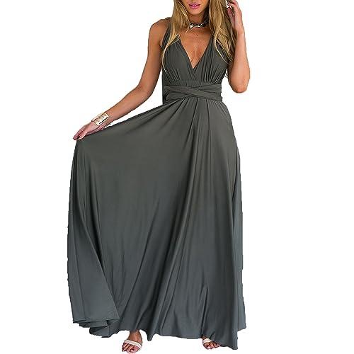 11ba3f39298 Clothink Women s Convertible Wrap Multi Way Party Long Maxi Dress