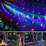 Twinkle Star 360 LEDs Christmas Net Lights, 12ft x 5ft 8 Modes Low Voltage Connectable Mesh Fairy String Lights for Xmas Trees, Bushes, Wedding, Outdoor Garden Decorations (Multicolor)