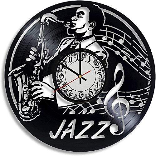 GVSPMOND Regalo De Música De Jazz Reloj De Pared De Vinilo Reloj De Vinilo De Jazz Música Regalo De Boda