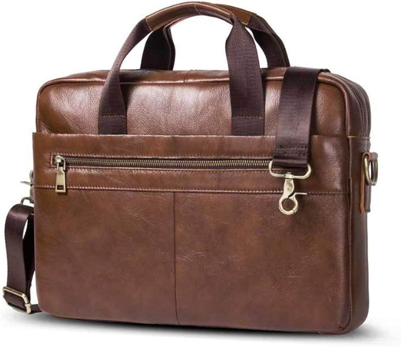 Men's Briefcase Leather Men's Leather Crossbody Bag Casual Laptop Business Bag, (color   Brass, Size   L)