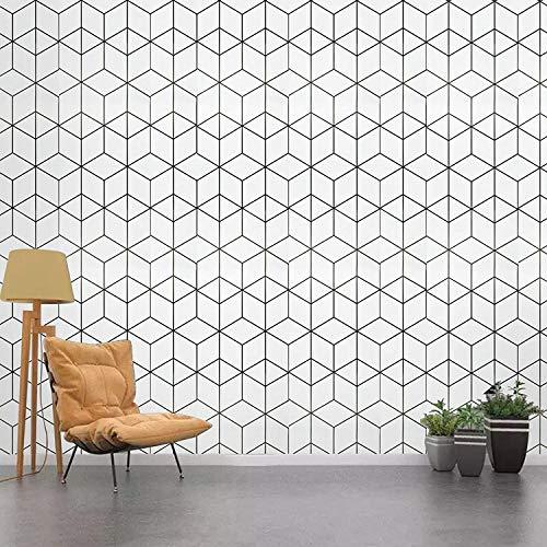 Decoroom Selbstklebende Tapete Weißen Streifen 45 cm x 3 m Klebefolie Möbelfolie wasserdichte Vinylfolie Für Abnehmbare Möbelaufkleber für Küchenarbeitsplatten