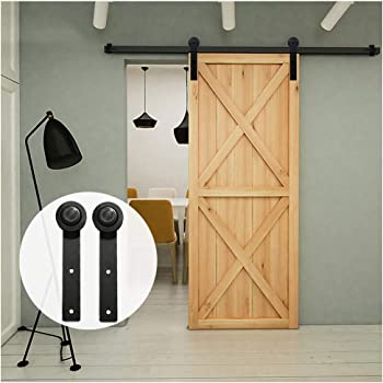 6.6FT/200 cm Herraje para Puerta Corredera Kit de Accesorios para Puertas Correderas,Negro I-Forma: Amazon.es: Bricolaje y herramientas