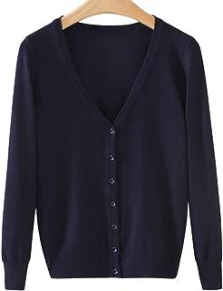 chouyatou Women's Classic V-Neck Button Front Long Sleeve Soft Knit Cardigan