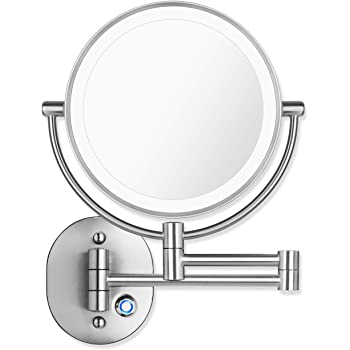 """Pansonite LED Wall Mount Makeup Mirror with 10x Magnification, 8.5'' Double Sided 360° Swivel Vanity Mirror with 13.7"""" Extension and Adjustable Light for Bathroom & Bedroom, Chrome Finished"""