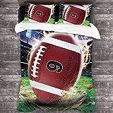 HUA JIE 3 Piezas Cool American Football Ropa De Cama Juego De Cama, Microfibra Ultra Suave All Seasons Cubierta De Edredón Decorativo Edredón Edredón, con 2 Almohadas para Adolescentes