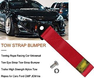 Universal Car Trailer modificata con nylon ad alta resistenza Trim breve Cinghia di traino universale Trailer corda anteriore e posteriore barra di traino Belt Accessori auto Arancione 1 Pc