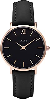 Cluse Women's Minuit 33mm Black Leather Band Metal Case Quartz Analog Watch CL30022