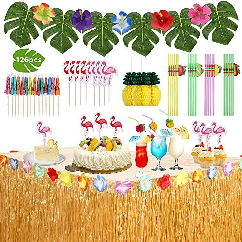 ThinkMax Juego de falda de mesa hawaiana, 126 piezas Luau decoraciones para fiestas para playa, verano y fiesta temática hawaiana