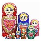 QIFFIY muñeca Rusa Muñecas de anidación Rusa Matryoshka Madera de Madera Set anidado Conjunto 10 PCS Juguetes Hechos a Mano para niños Navidad Día de la Madre Regalo de cumpleaños Matryoshka