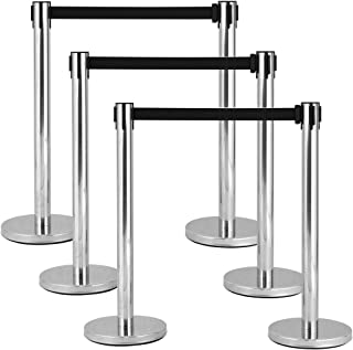 Goplus 6Pcs Stanchion Post Crowd Control Barrier Stainless Steel Stanchions with 6.5' Retractable Belt Posts Queue Pole, 35