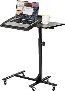 MEUBLE COSY Table de Lit pour Ordinateur Portable Hauteur Réglable 5 roulettes Verrouillables Support Pliable Bois Bureau ...