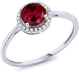 10K White Gold Red Created Ruby and Diamond Engagement Ring 1.22 cttw (Available 5,6,7,8,9)