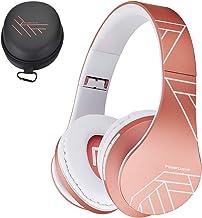 PowerLocus P2 – Auriculares Bluetooth inalambricos de Diadema Cascos Plegables, Casco Bluetooth con Sonido Estéreo Micro SD/TF, FM con micrófono y Audio Cable para Movil, PC, Tablet - Oro Rosa