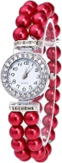 Hunputa Fashion Women Casual Pearl String Band Diamonds Round Watch Strap Quartz Wrist Watch Gift (Red)