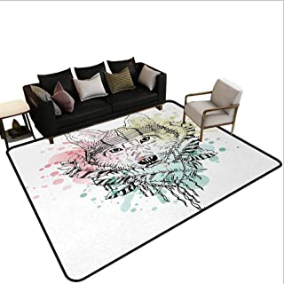 Abstractdesk Chair mat for Carpet Wild Brave Tribal Animal Wolf with Rainbow Colorful Backdrop and Sketchy Image Kitchen Rugs and mats Area Multicolor 5'x8'
