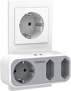 Dubbele stekker voor stopcontact, TESSAN 5 in 1 meervoudige stekkerdoos met 2 USB-aansluitingen, stekkerdoosadapter 3 weg ...