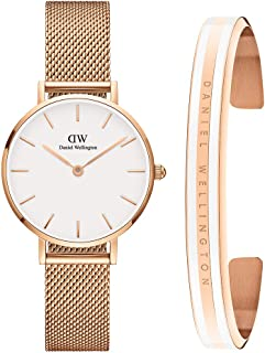 Daniel Wellington Unisex Petite Melrose 28mm and Classic Slim Bracelet Gift Set, Small,White