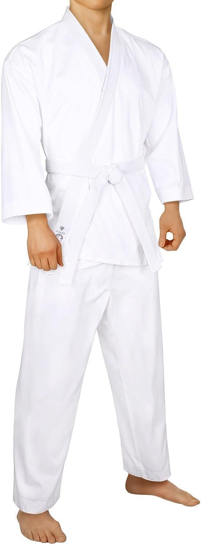 FitsT4 Karate Uniform with Belt 7.5oz Elastic Drawstring Lightweight Martial Arts White Karate Gi for Adults & Kids,0005