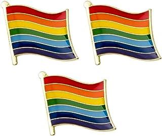 Tanto Badges Set di 3 distintivi per Spille in Metallo smaltato Rainbow Gay Pride LGBT da 19 mm x 15 mm