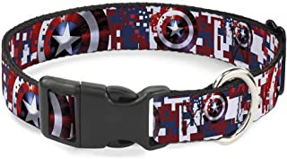 Buckle-Down Cat Collar Breakaway Captain America Shield Digital Camo Blue White Red 8 to 12 Inches 0.5 Inch Wide