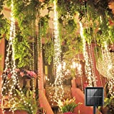 220 LED Solar Firefly Bunch Lights, 8 Flashing Modes , Fairy Copper Wire Waterproof String Lights, Decorative Vine Solar Watering Can Lights, Outdoor Garden Christmas Decor Lights (Warm White)