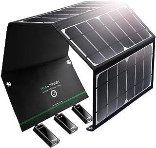 RAVPower ソーラーチャージャー 【3ポート / 24W】 iPhone、Android 各機種対応 ソーラーパネル アウトドア/キャンプ/地震/災害時 RP-PC005