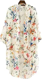 CBTLVSN Women Jacket Coat Loose Floral-Print Kimono Blouses Long Cardigan Coverup