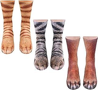 WANDER EU, Calcetines con diseño de patas de animales, diseño de pata de tigre en 3D, regalo divertido para mujeres, hombres y niños