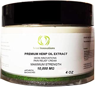 Hemp Pain Relief Cream - 10,000 - Premium Hemp Oil Extract - Rub - Ointment - Salve - Aches and Pains - Soreness - Joint - Muscle strains - Organic - Natural Organic Ingredients