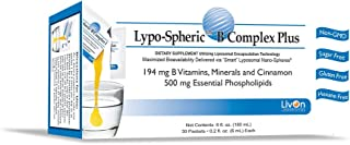 Lypo–Spheric B Complex Plus – 30 Packets – 194 mg B Vitamins, Minerals & Cinnamon Per Packet – Liposome Encapsulated for Improved Absorption – 100% Non–GMO